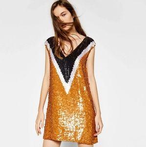 Zara Trafuluc Orange Sequin Mini Party Dress M